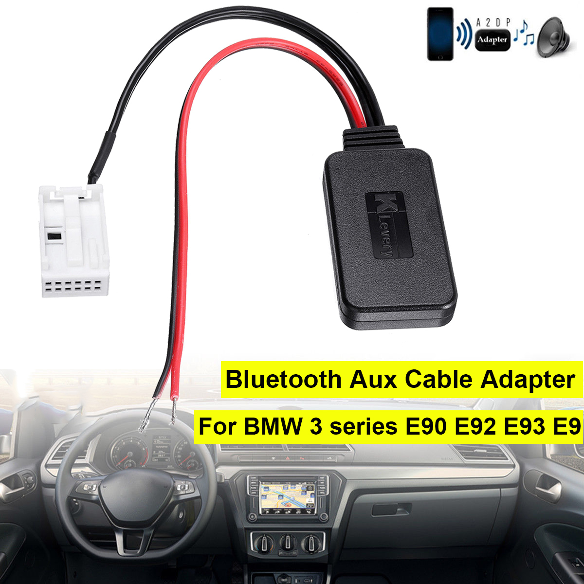 Bluetooth Module Adapter Aux Cable For Vw Rcd510 Rcd310: Bluetooth Module Radio 12 Pin Aux Cable Adapter For BMW 3