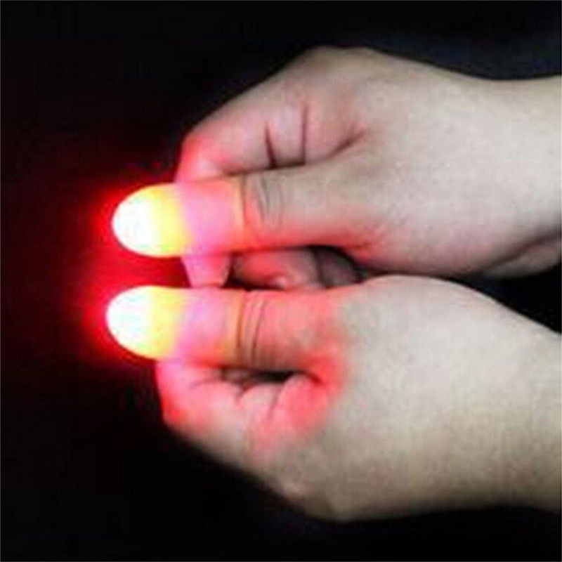 1 Pair LED Light Flashing Fingers Magic Trick Prop Kids Fantastic Glow Toys Children Luminous Gifts Decor Halloween Toys Horror