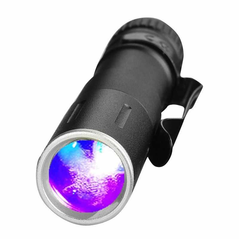 Đèn Led Mini Đèn Pin Uv 7W 1000LM Đèn Pin Chống Nước LED Phóng To Lanterna AAA Pin Đèn Led Cho Tiền Phát Hiện Tiền Hoặc Ban Đêm câu Cá S6