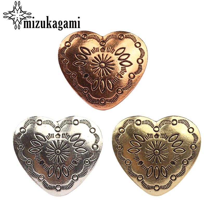 Anhänger 30 Mm 3 Teile/los Retro Zink-legierung Süße Herz Bronze Dekorative Vintage Concho Tasten Charms Für Diy Schmuck Zubehör Komplette Artikelauswahl