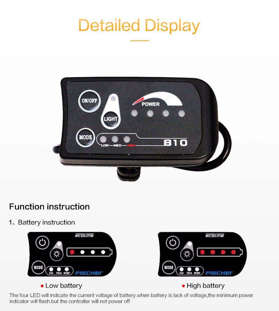 JS 36V Electric Bike Bicycle LED Display Controller Waterproof Connector  810 Control Panel Cycling Accessories Components #242904