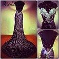 Preto Sereia Vestidos de Noite Vestidos De Baile Vestidos Sempre Bonita Vestido Longo do Baile de finalistas Vestidos de Festa Backless Lantejoulas Cristal
