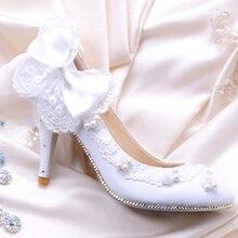 Fashion White Rhinestone Woman Wedding Shoes Woman Bridal Shoes Lady Bowtie Party Prom Shoes High Heel Eveningclub Shoes