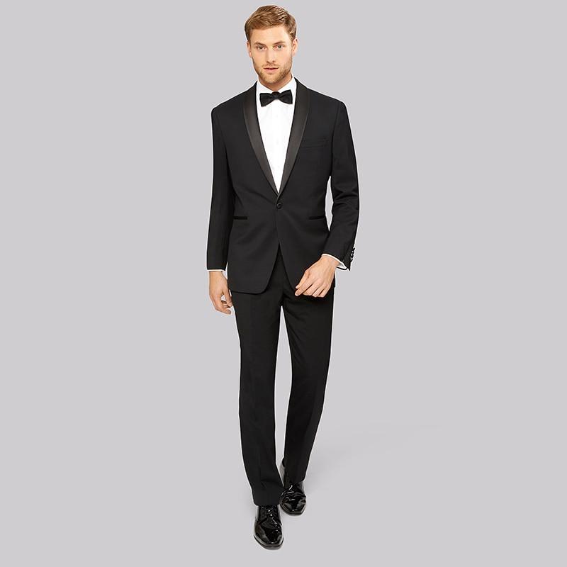 2018 Wedding Suits For Men Black Satin Shawl Lapel Tuxedo Marriage Prom Handsome Groom Groomsman Costume