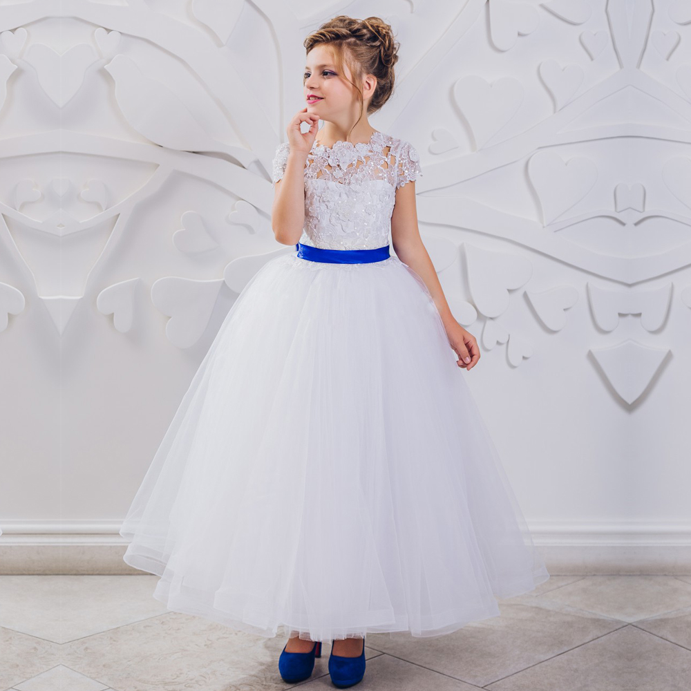 Nectarean Flower Girl Dresses with Blue Sash Lace Short Sleeves Long Floor Ball Gowns For Birthday Wedding Party 0-12 Years Old custom nice sheer short lace sleeve boat neckline ball gowns long pleated appliques wedding birthday party flower girl dresses