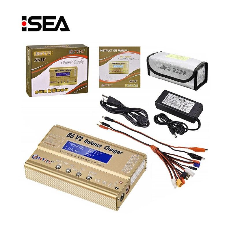 HTRC B6 V2 80 W batterie Balance chargeur 15 V 6A AC adaptateur + 8 en 1 câbles + LiPo Safe batterie garde anti-déflagrant sac décharge