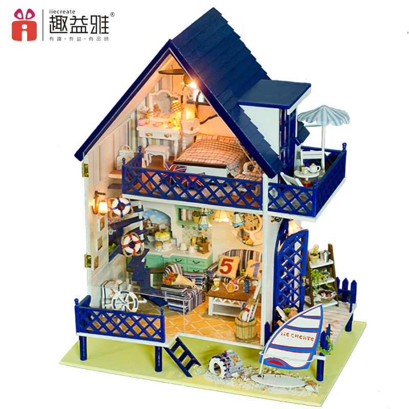iiE CREATE 3D Miniature Doll Houses Hand DIY Building Model Doll House with Furniture Kits Toys Kids Creative Gift Aegean Sea