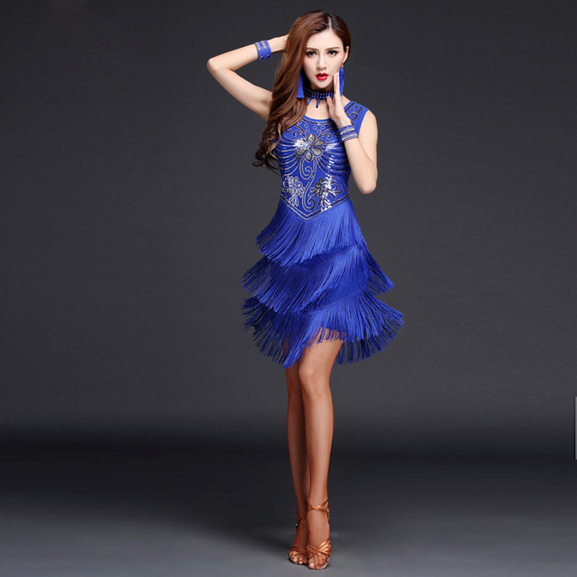 2017 Women Competition Dance Clothes Sequins Costume Set with Sleeves Fringe Salsa Dresses Latin Ballroom Dance Dress