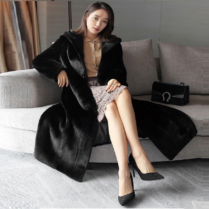 Manteau Femme Hiver Fashion 2018fur Coat Imitation Mink Fur Coat Tidy Fur Coat Female New Long Hooded Suede Fur Faux Fur Coat