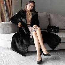 Manteau femme hiver fashion 2018fur coat imitation mink fur tidy female new long hooded suede faux