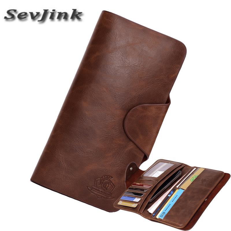 SEVJINK Genuine Leather Men Wallet England Style Long Clutch Wallets Solid Brown Photo Card Holder Purse Vintage Hasp Wallets
