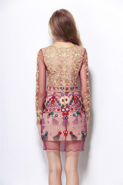HIGH QUALITY S-XL New Fashion 2017 Women's Long Sleeve Gauze Gold Thread Luxury Embroidery Dress Autumn Dress 3