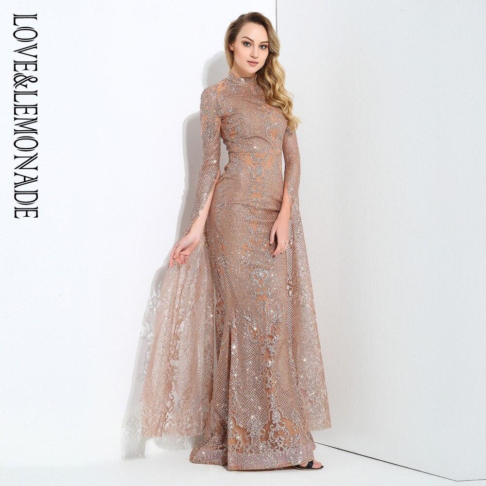 Amor y limón Rosa oro cortado altavoz manga larga geometría Glitter vestido largo glaseado LM0702 Otoño/Invierno-in Vestidos from Ropa de mujer    2