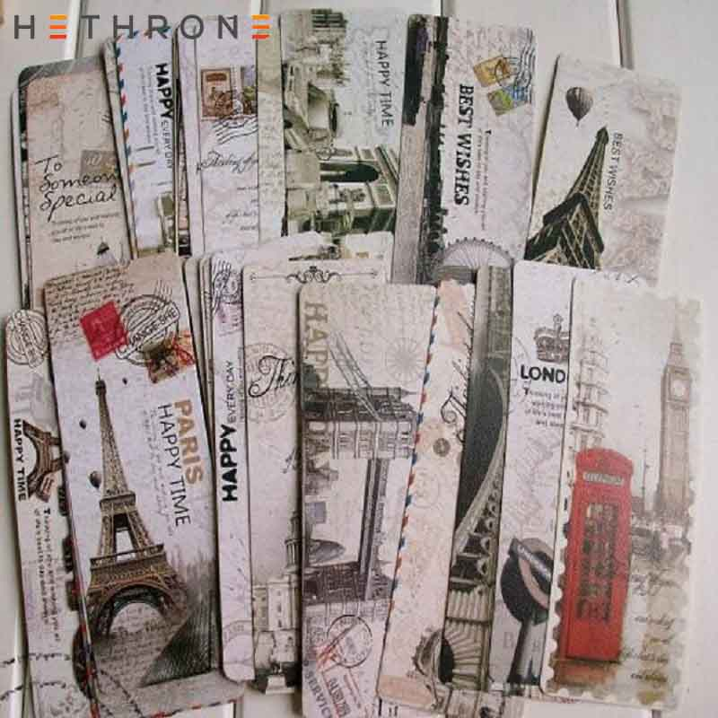 Hethrone 30pcs Vintage Europe Scenery Eiffel Tower London Paper  Bookmark Papelaria Boekenlegger Bookmarks Book Clip Supplies