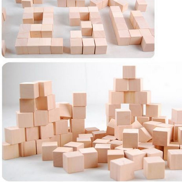 100 pcs cube cube en bois massif bloc de bois. Black Bedroom Furniture Sets. Home Design Ideas