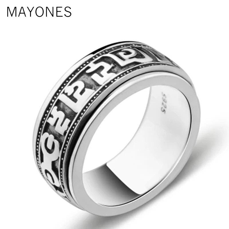 Punk Jewelry For Men 925 Sterling Silver Spinner Ring Vintage Six Words Mantra Mens Signet Rings