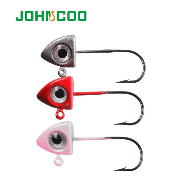JOHNCOO 2g 3g Fishhooks 3D Eyes Lead Jig Head Barbed Hook Mustad Jigging Hook Fishing Hooks Lead Head Hook 3 Colors 5pcs/lot