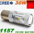 2x 30W LED 1157 Bay15d Dual Beam Auto Car Brake Rear Brake Light Ampoule-Rouge P21/5W Can Bus LED Feux Stop Ampoules Voiture