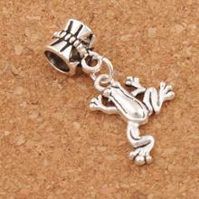 Frog Charm Beads 30.8x15.6mm 100PCS Antique Silver Dangle Fit European Bracelets Jewelry DIY B167 frog charm beads 30 8x15 6mm 100pcs antique silver dangle fit european bracelets jewelry diy b167