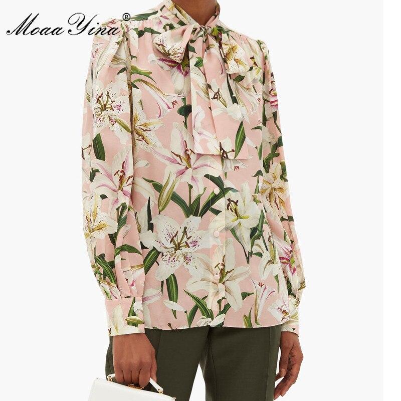 MoaaYina عالية الجودة أزياء الحرير بلوزة الصيف المرأة القوس طوق زنبق الأزهار طباعة أنيقة قميص حريري-في بلوزات وقمصان من ملابس نسائية على  مجموعة 3
