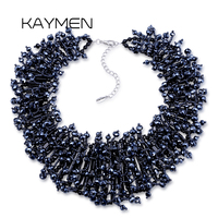 New Arrivals Luxury Crystal Statement Necklace for Women Wedding Party Handmade Beads Bib Fashion Choker Necklace Bijoux 1650