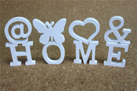 Popular 12cm Wedding Decorative White Letter For Home Decorative Butterfly Crown Diamond Ring Imitation Wood Letter