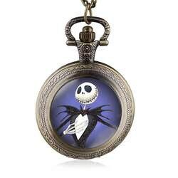 Новое поступление Ретро Бронзовый синий кошмар перед Рождество карманные часы Цепочки и ожерелья стимпанк кулон Best подарок