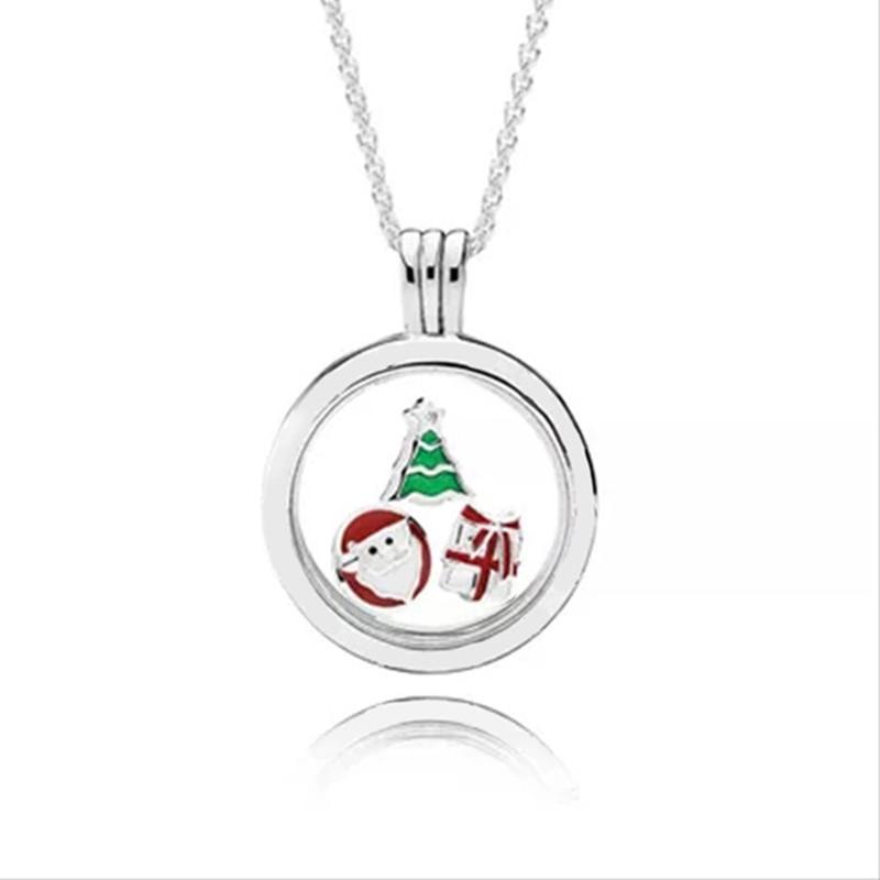 100% 925 collier en argent Sterling petite décoration Rose Santa arbre de noël Surprise cadeau flotteur boîte bricolage clavicule charme