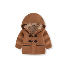 Bunny button pores and pores and skin boy double-sided kids woolen coat spring and fall full of new