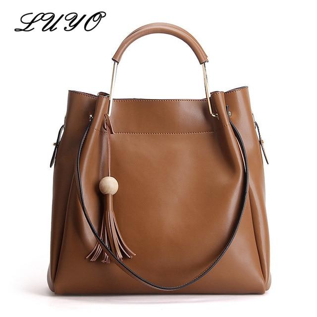 Luyo New Fashion Genuine Leather Tassel Metal Handle Shoulder Handbags  Summer Luxury Brand Bag Women Top-handle Vintage Sac 41a726ab3c299