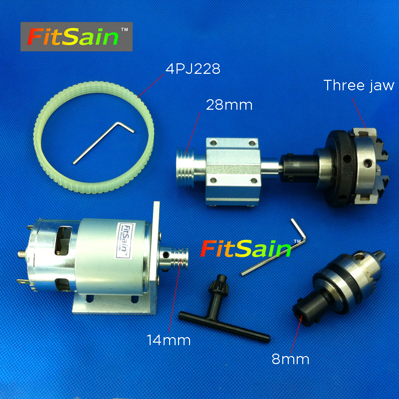 цена FitSain-775 DC24V 8000RPM motor pulley three jaw chuck D=50mm B12 drill chuck Pulley mini Lathe