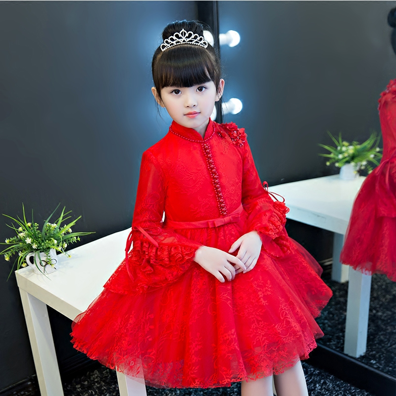 2017New Design Girls Dresses for Party Wedding Birthday Pageant Teenager Girl Red Lace Tutu Princess Dress Evening Dress 3~15ys fashion simple evening wedding princess dresses lace flower teenagers dresses for girls dress clothes tutu party dress