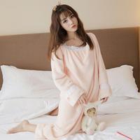 Autumn Winter Flannel Princess Nightgowns Women Casual Homewear Warm Soft Comfortable Sleeping Dress Ruffles Solid Sleepwear