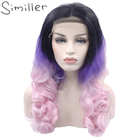 Similler Women Ombre Black Purple Pink Body Wave Synthetic Lace Front Wig Glueless Long Dark Root High Tempureture Fiber