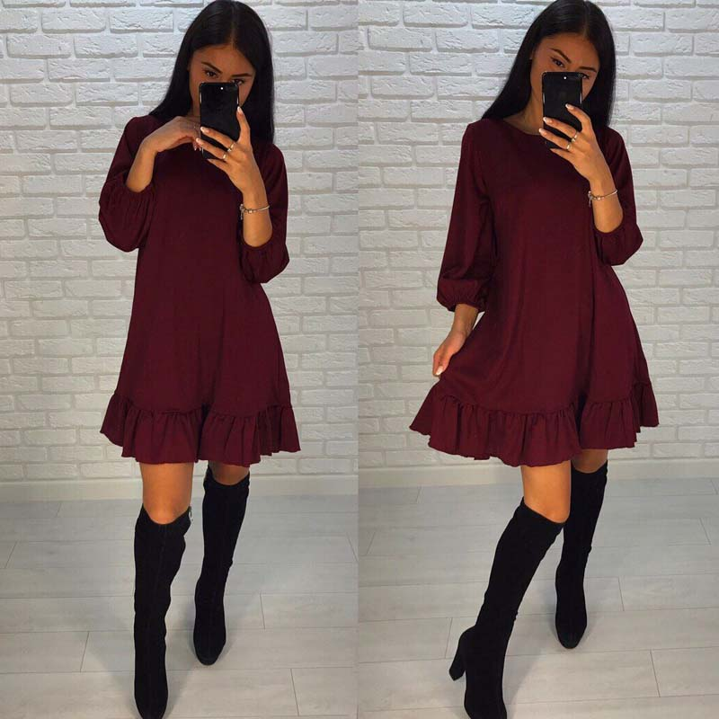 Fall 2017 Fashion Casual Women Dress Autumn Ruffle Three ...