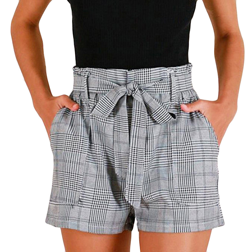 Self Tie Waist Plaid   Shorts   2019 Summer Mid Waist Straight Leg   Shorts   Women Elastic Waist Office Ladies Elegant   Shorts