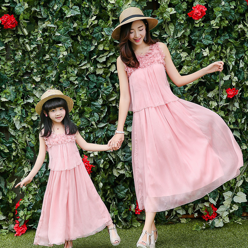 2016 new mom and daughter dress family matching clothes high quality pink flower decoration sleeveless women