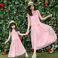 2017 new mom and daughter dress family matching clothes high quality pink flower decoration sleeveless women summer long dresses