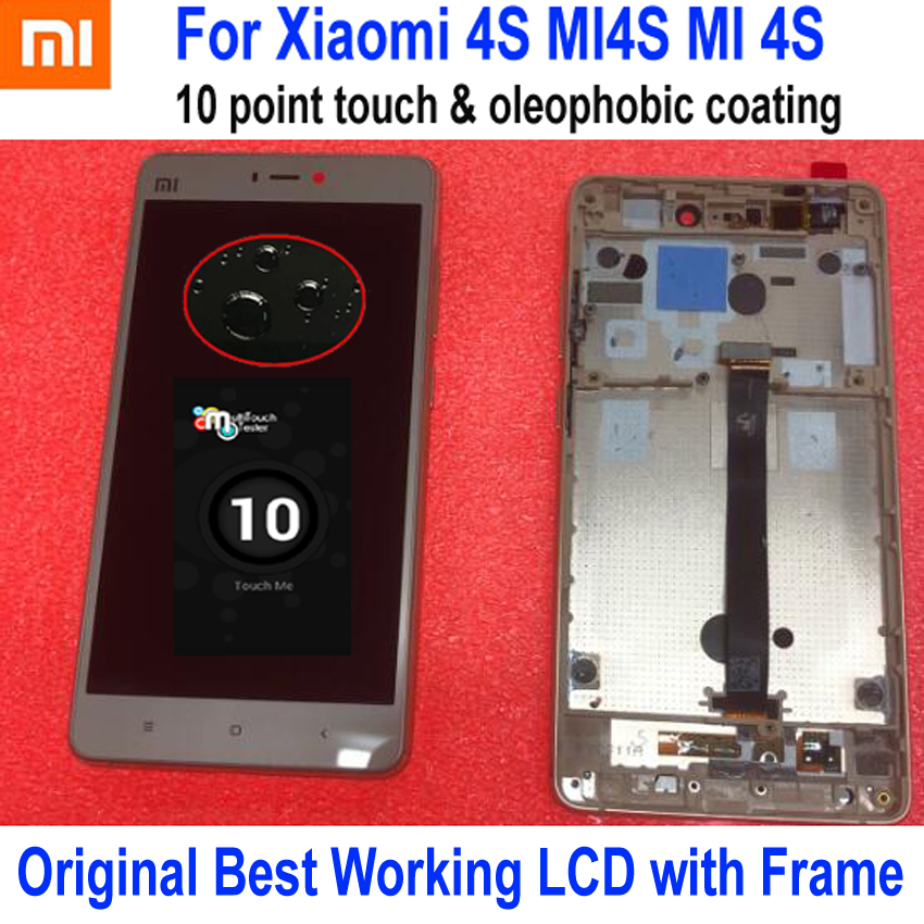 100% Original Best Working Sensor LCD Display Touch Panel Screen Digitizer Assembly + Frame For Xiaomi Mi4S M4S Mi 4S Gold100% Original Best Working Sensor LCD Display Touch Panel Screen Digitizer Assembly + Frame For Xiaomi Mi4S M4S Mi 4S Gold