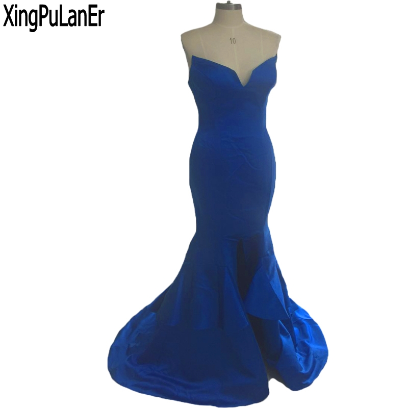 robe de soiree Mermaid Navy Blue Satin Ruffles Bottom Sweetheart Sleeveless Sexy Prom Dress Formal Party Gowns