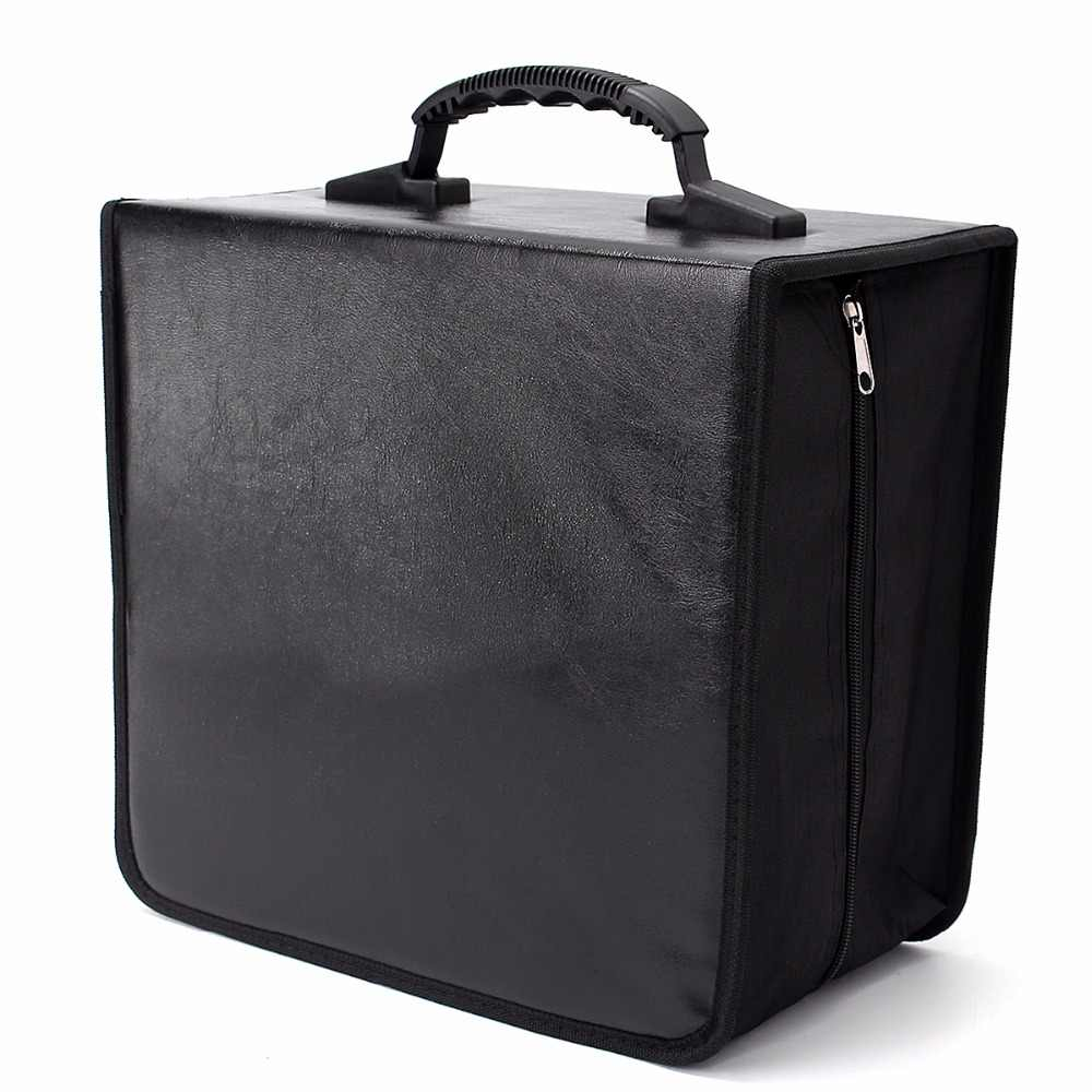 520 Discs CD DVD Wallet Storage Holder Bag Case Album Organizer Media Products Black PU Leather Storage Box Container CANDYKEE