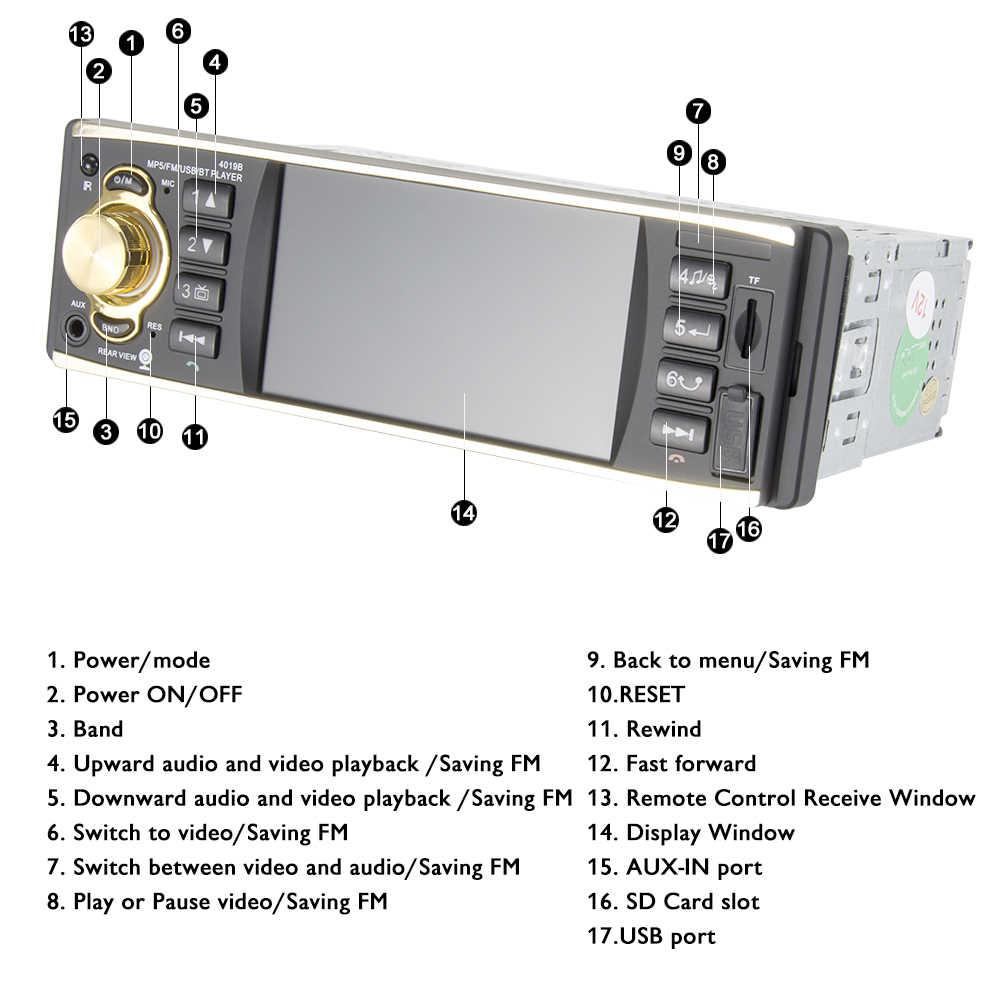 """SINOVCLE 4 """"หน้าจอ TFT 1 DIN รถวิทยุสเตอริโอบลูทูธ MP3 USB AUX FM Audio Player ด้านหลังกล้องรีโมทคอนโทรล"""