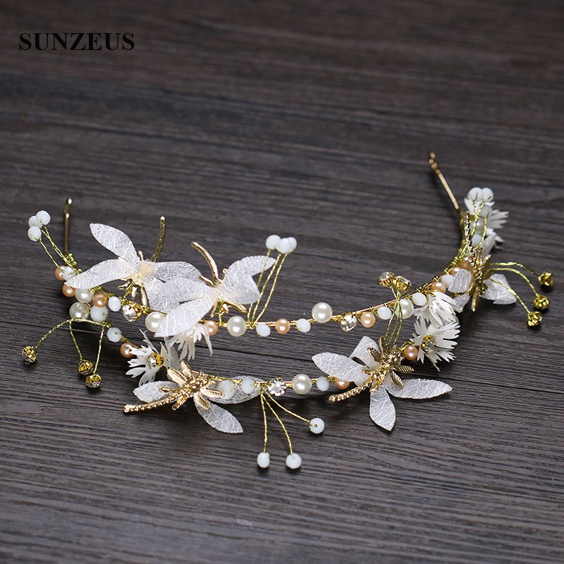 2019 Latest Gold Bridal Headband With Pearls Dragonfly Wedding Accessory For Hair SQ0250