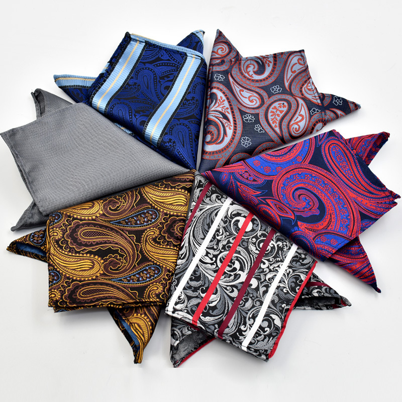 CityRaider New Paisley Floral Pattern Silk Handkerchiefs For Men Cotton Pocket Square Grey Purple Blue C038