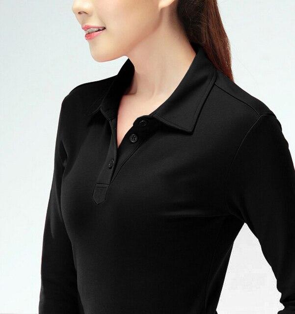 21cf87a9a Llano negro camiseta polo mujer polo de manga larga camisas polos de manga  larga mujer camisas