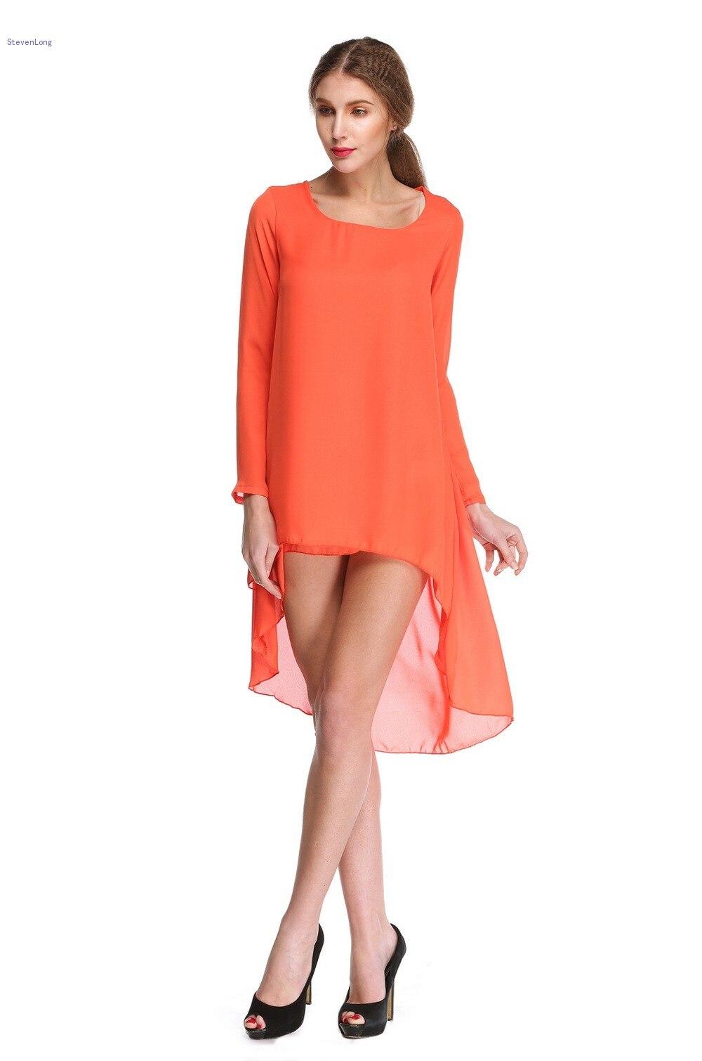 Fashion Dresses Accessories: New Fashion 2015 Women Chiffon Dress Long Sleeves Orange