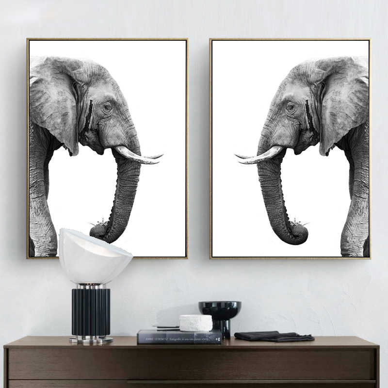 Elephant Prints Posters White Black Realist Anmial Wall Art Canvas Home Decoration Painting Wall Picture Livingroom Art Canvas