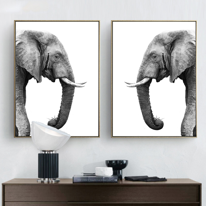 Elephant Prints Posters White Black Realist Anmial Wall Art Canvas Home Decoration Painting Wall Picture Livingroom Art Canvas african elephant