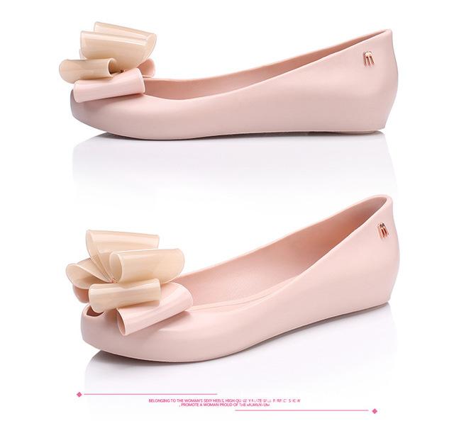 Novas Mulheres da moda bowknot sapatos de geléia sandálias de praia