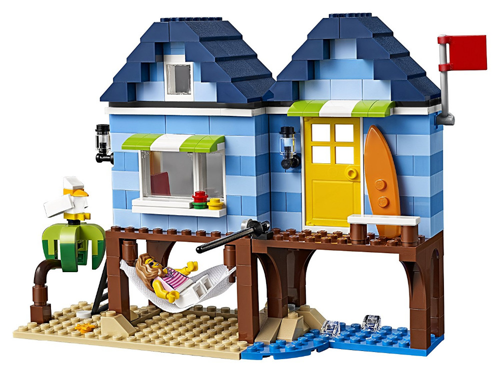 LEPINES City Creator 3 in 1 Beachside Vacation Building Blocks Bricks figure Kids Model Toys For Children lepin city creator 3 in 1 beachside vacation building blocks bricks kids model toys for children marvel compatible legoe